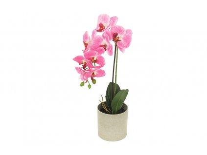 Sada 2 ks dekorací: Orchideje růžové v betonovém květináči 48 cm