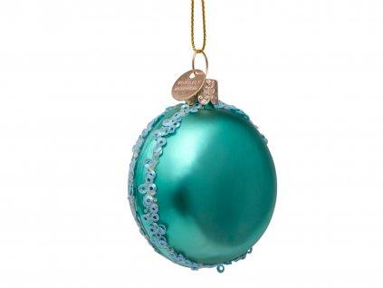 Vánoční skleněná ozdoba Makronka 7cm