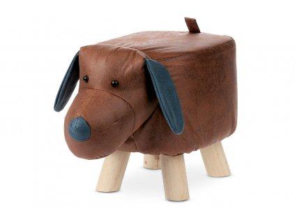 Taburet pes hnědý / dřevo