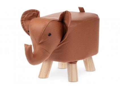 Taburet slon skořicově hnědý / dřevo
