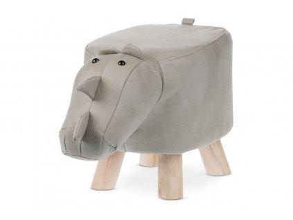 Taburet nosorožec šedý / dřevo