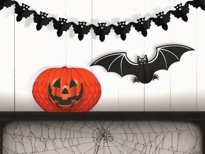 2 Sada 3 ks papírových dekorací dýně, netopýr, řetěz s netopýry bez čísel 1536x722