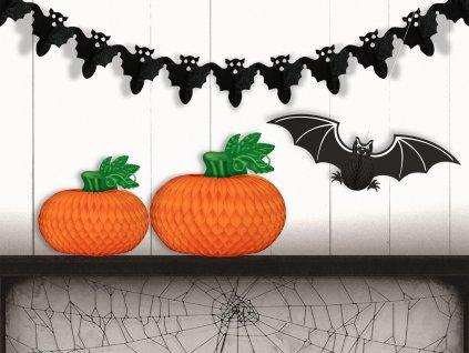 7 Sada 4 ks papírových dekorací dýně velká a malá, netopýr, řetěz s netopýry bez čísel