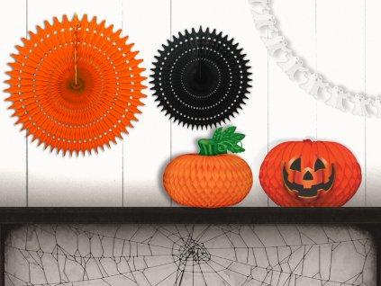 Sada 5 ks papírových dekorací rozeta 67 cm a 53 cm, dýně s listem, dýně strašidelná, řetěz se strašidly bez čísel