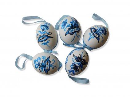 Sada 5 ks dekorací: Velikonoční husí kraslice z Broumovska s cibulovým vzorem