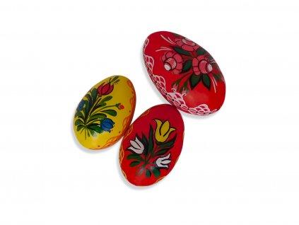 Sada 3 ks dekorací: Velikonoční husí kraslice z Broumovska s regionálním vzorem