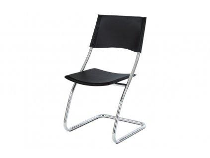 Jídelní židle černá koženka / chrom