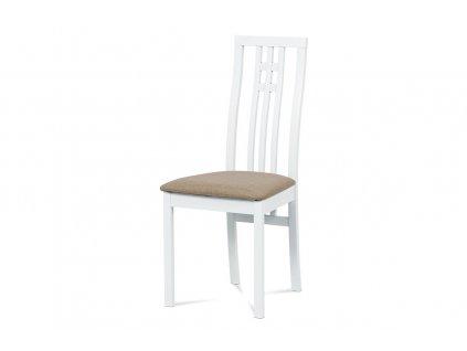 Jídelní židle bílá buk / béžový potah