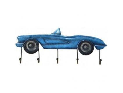 Kovový věšák modré auto