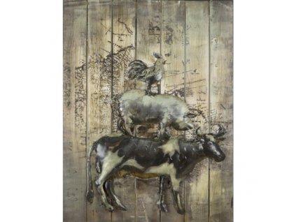 Kovový obraz se zvířaty 60 x 80 cm