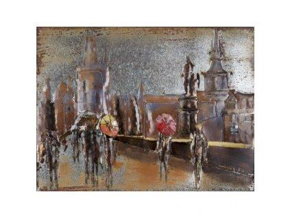 Kovový obraz ulice v dešti 60 x 80 cm