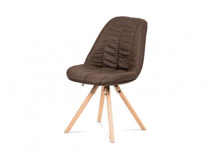 Jídelní židle hnědá látka / dub