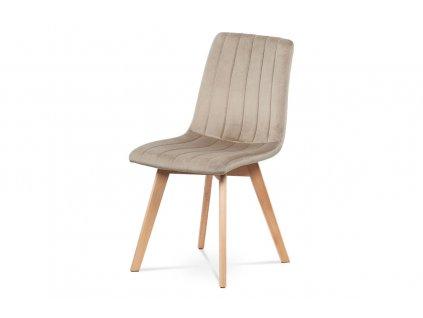 Jídelní židle krémová sametová látka / buk