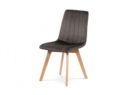 Jídelní židle šedá sametová látka / buk