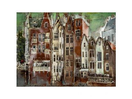 Kovový obraz domy 80 x 60 cm