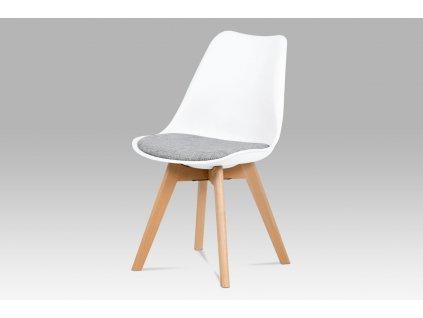 Jídelní židle bílá plastová / dřevo