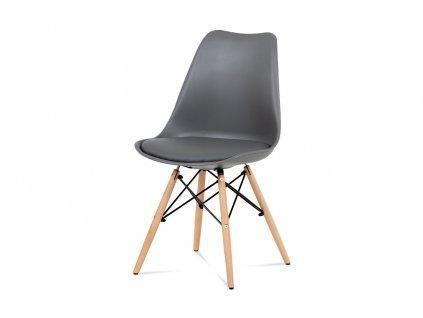 Jídelní židle šedá plastová / buk