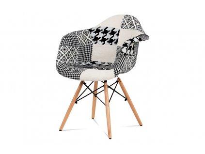 Jídelní židle černobílá patchwork / buk