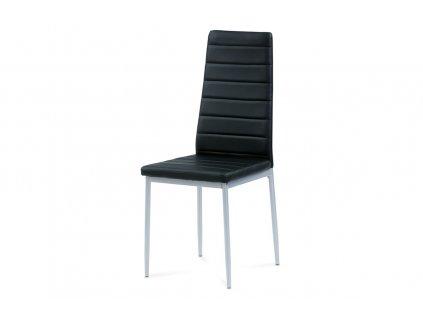 Jídelní židle černá koženka / kov