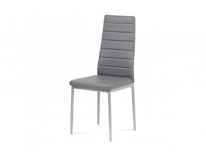 Jídelní židle tm. šedá koženka / kov