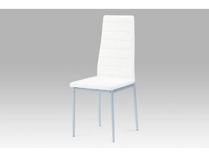 .Jídelní židle bílá koženka / šedá