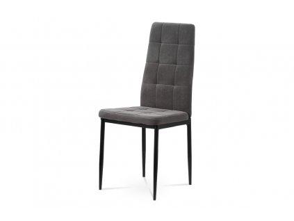 Jídelní židle šedá sametová látka / kov