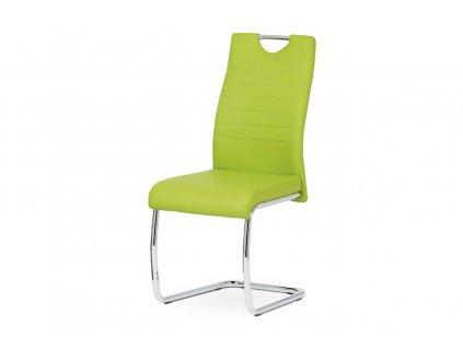 Jídelní židle zelená ekokůže / chrom