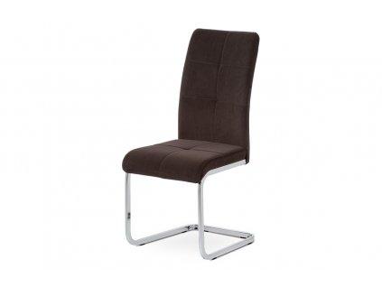 Jídelní židle hnědá sametová látka / chrom