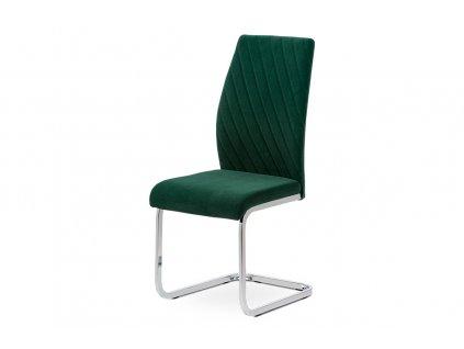 Jídelní židle zelená sametová látka / chrom