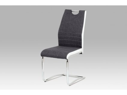 Jídelní židle šedobílá látka / chrom