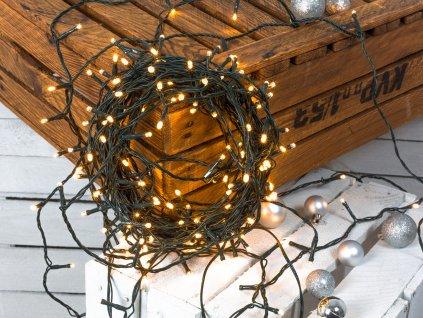 Vánoční světelný řetěz TEPLÁ BÍLÁ 12 m