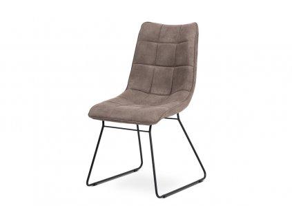 Jídelní židle lanýžová imitace broušené kůže / kov