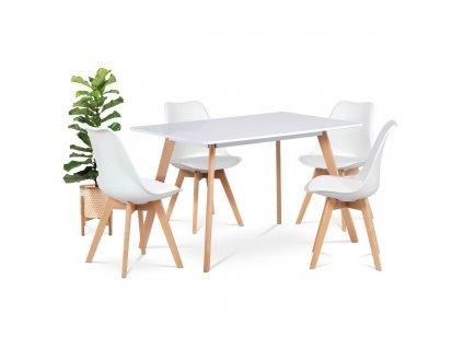 Jídelní stůl bílý / buk 120 x 80 cm
