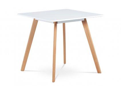 Jídelní stůl bílý / buk 80 x 80 cm