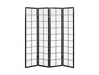Paraván čtyřdílný černý 179 x 174 cm