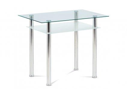 Jídelní stůl se sklem chrom 90 x 60 cm