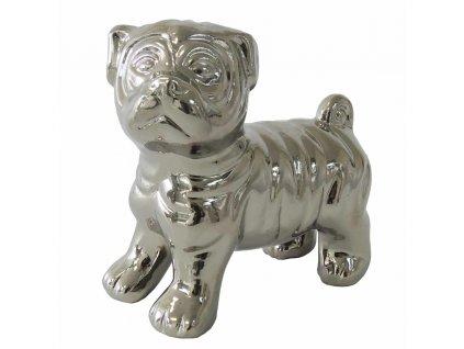 Stříbrná dekorace pes 12 cm