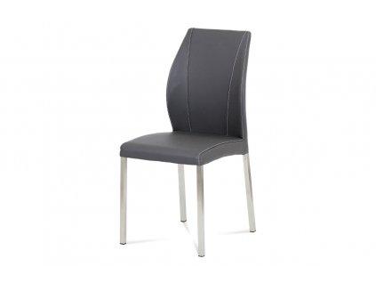 Jídelní židle šedá koženka  / broušený nerez