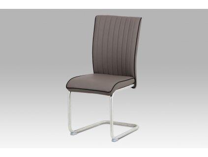Jídelní židle cappuccino ekokůže / broušený nerez