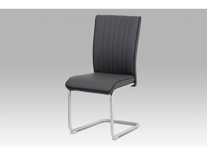 Jídelní židle šedá ekokůže / broušený nerez
