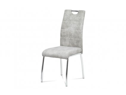 Jídelní židle stříbrná látka / chrom