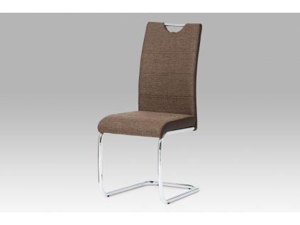 Jídelní židle tmavě hnědá látka / chrom