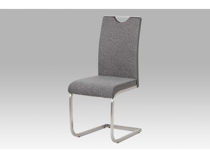 Jídelní židle látka šedá / broušený nerez