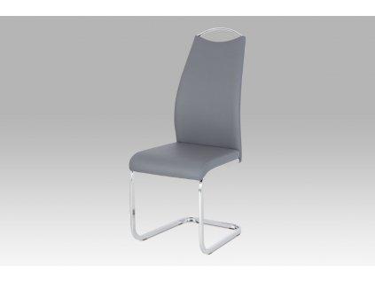 Jídelní židle šedá ekokůže / chrom