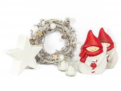 Sada 6 ks dekorací: Trpaslíci, hvězda, věnec, svícny se svíčkou ve tvaru domečku
