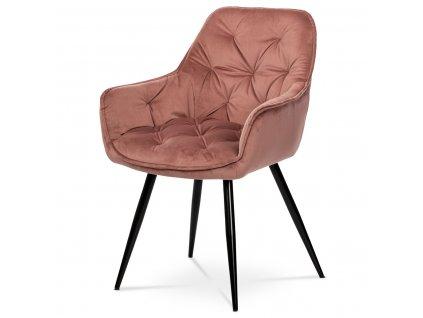 Jídelní židle, starorůžová sametová látka / kov