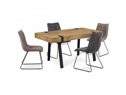Jídelní stůl s černou podnoží, přírodní 150 x 90 x 75 cm