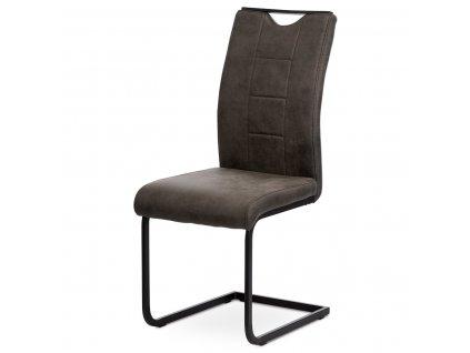 Jídelní židle, hnědá látka v dekoru vintage kůže / kov