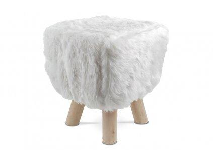 Taburet bílý / dřevo 35 x 29 cm