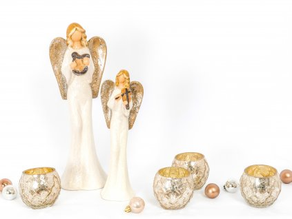 Sada dekorací: Andělíčci 2ks se svícny 4ks